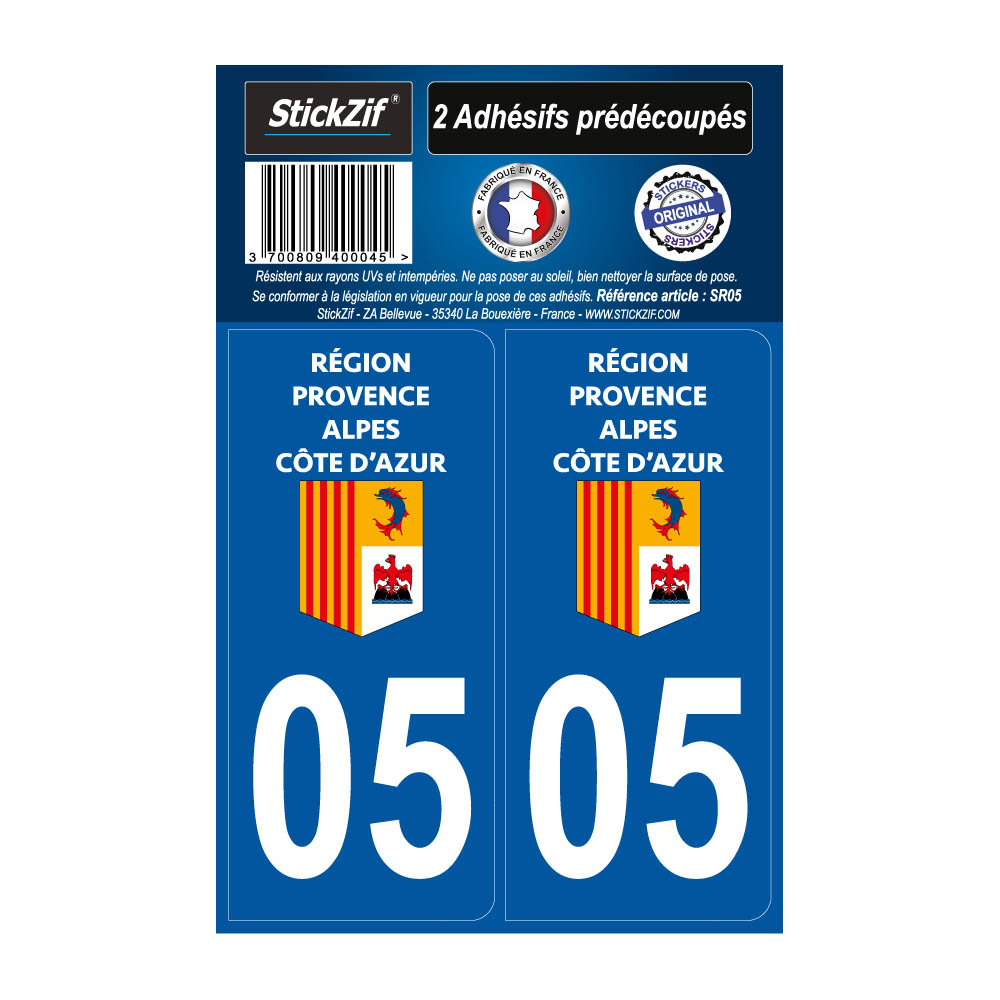 2 autocollants stickers plaque immatriculation Région Provence Alpes Côte d'Azur - Département 05 Hautes Alpes Officiel