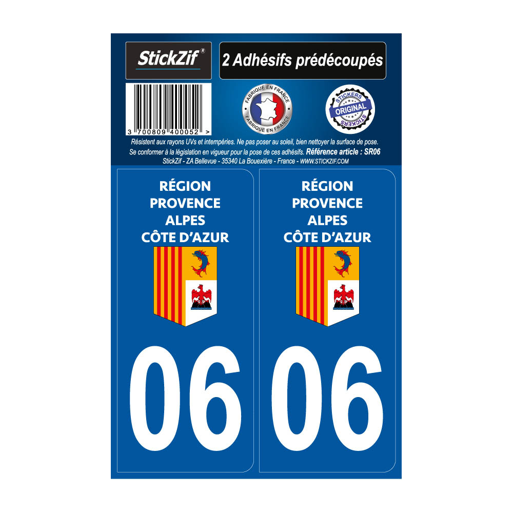 2 autocollants stickers plaque immatriculation Région Provence Alpes Côte d'Azur - Département 06 Alpes Maritimes Officiel