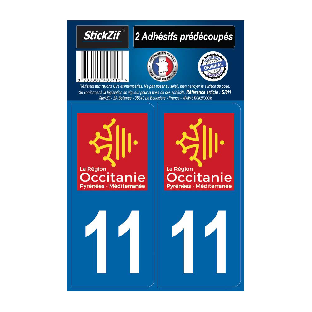 2 autocollants stickers plaque immatriculation Région Occitanie - Département 11 Aude Officiel