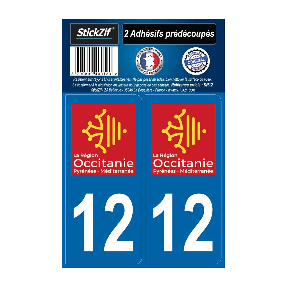 2 autocollants stickers plaque immatriculation Région Occitanie - Département 12 Aveyron Officiel