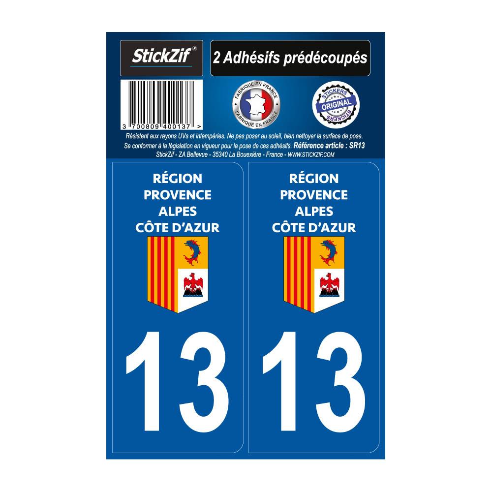 2 autocollants stickers plaque immatriculation Région Provence Alpes Côte d'Azur - Département 13 Bouches du Rhône Officiel