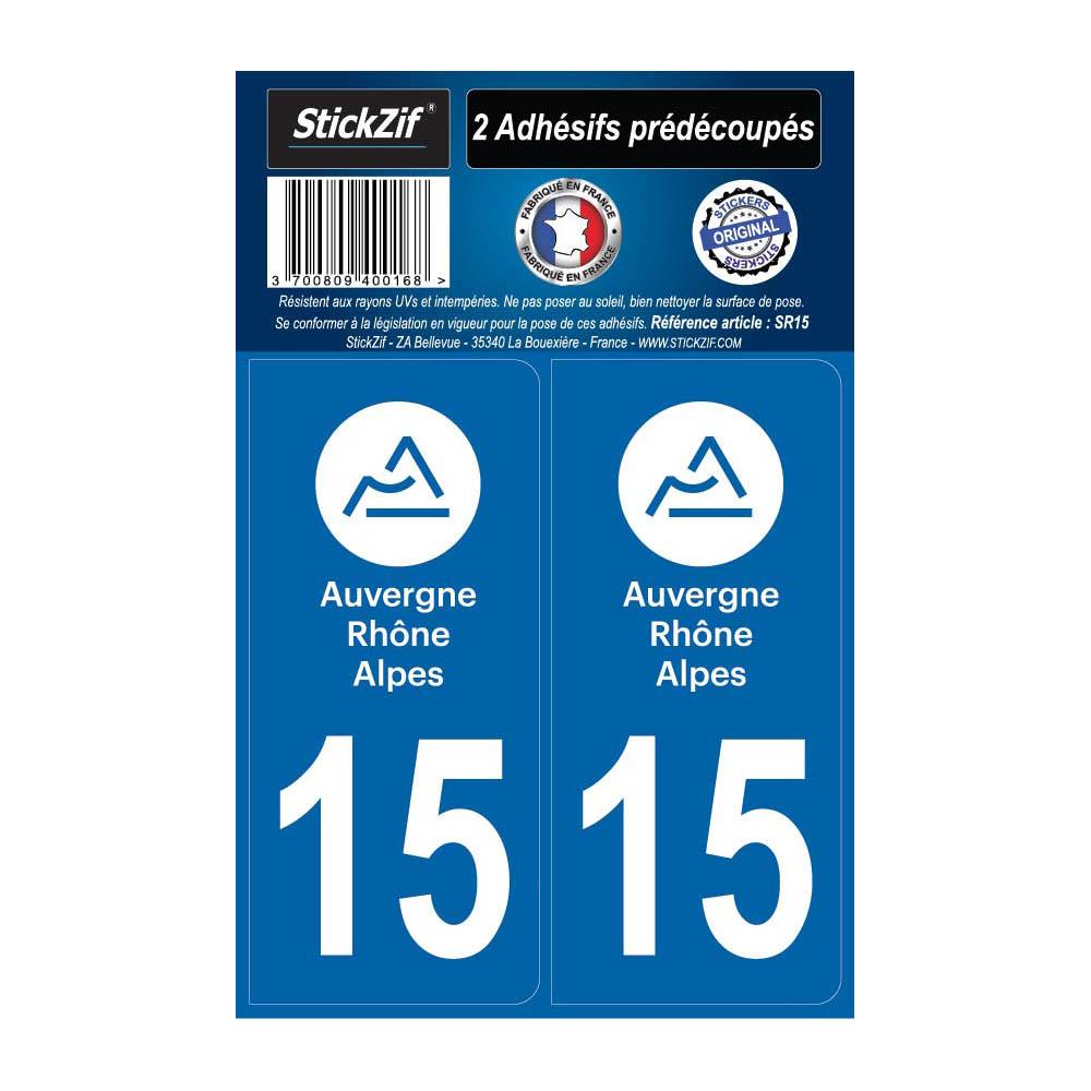 2 autocollants stickers plaque immatriculation Région Auvergne Rhône Alpes - Département 15 Cantal Officiel