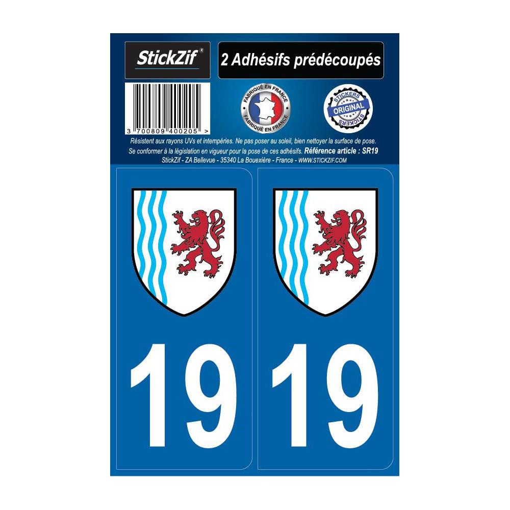 2 autocollants stickers plaque immatriculation Région Nouvelle Aquitaine - Département 19 Corrèze Officiel