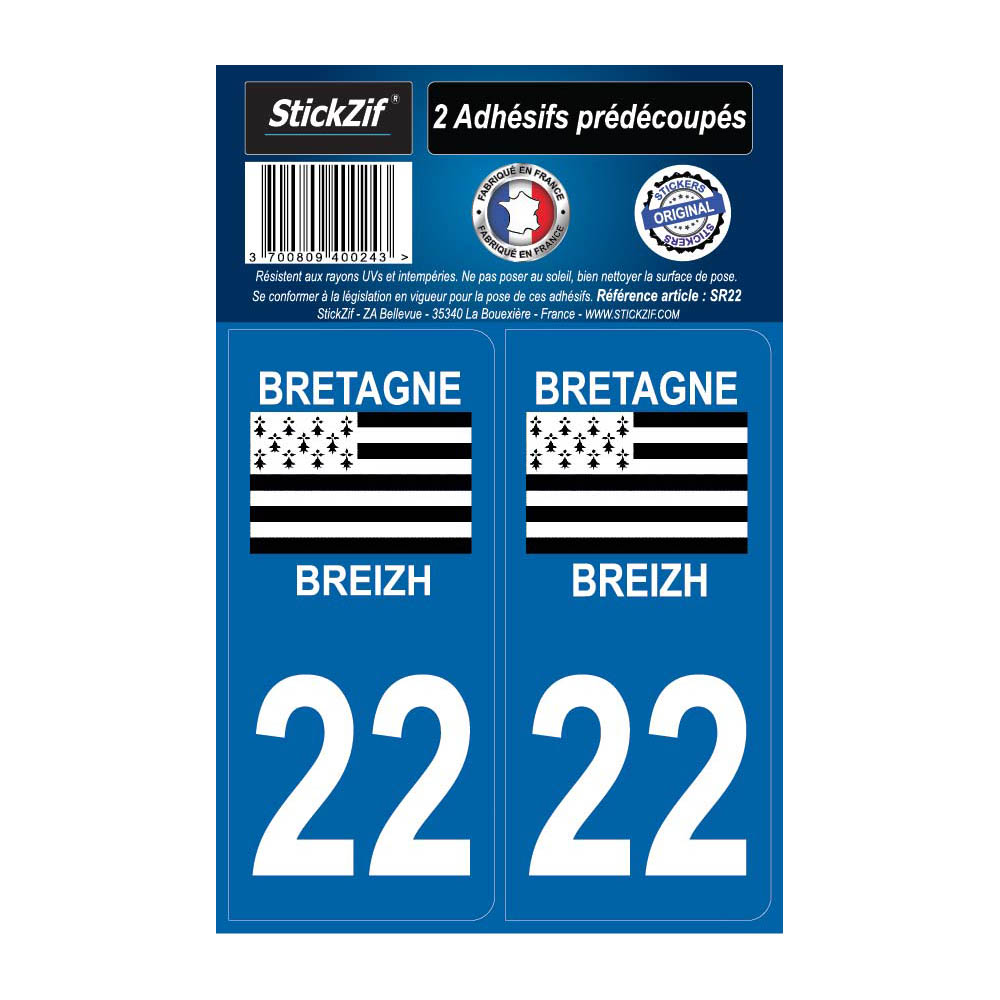 2 autocollants stickers plaque immatriculation Région Bretagne - Département 22 Côtes d'Armor Officiel