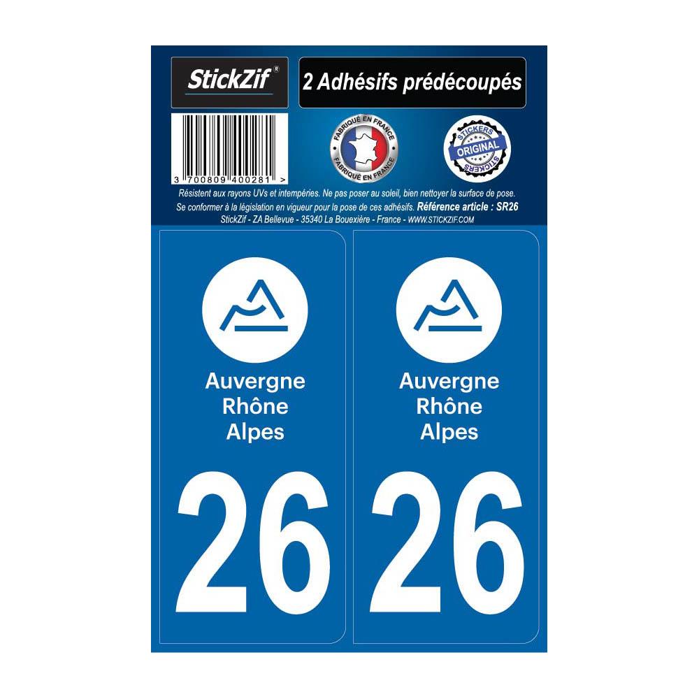 2 autocollants stickers plaque immatriculation Région Auvergne Rhône Alpes - Département 26 Drôme Officiel