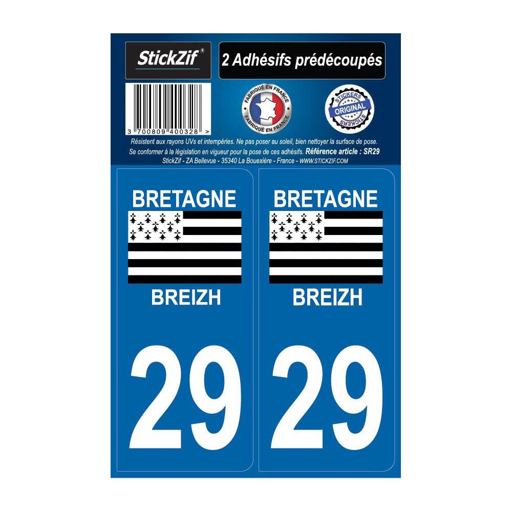 2 autocollants stickers plaque immatriculation Région Bretagne - Département 29 Finistère Officiel