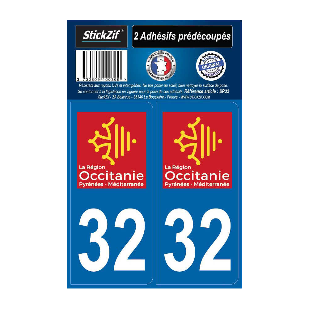 2 autocollants stickers plaque immatriculation Région Occitanie - Département 32 Gers Officiel
