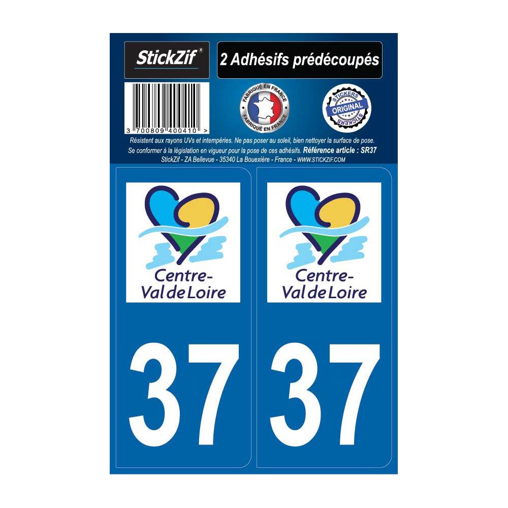 2 autocollants stickers plaque immatriculation Région Centre Val de Loire - Département 37 Indre et Loire Officiel