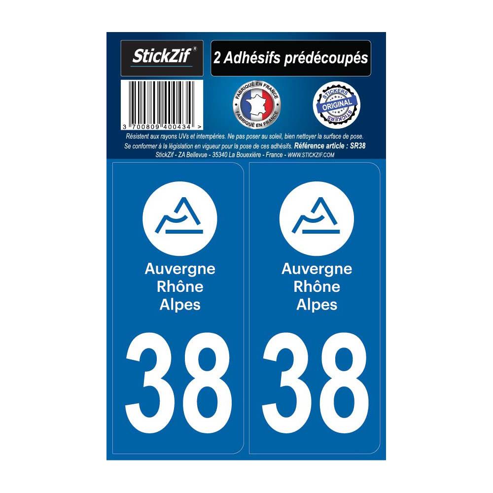 2 autocollants stickers plaque immatriculation Région Auvergne Rhône Alpes - Département 38 Isère Officiel