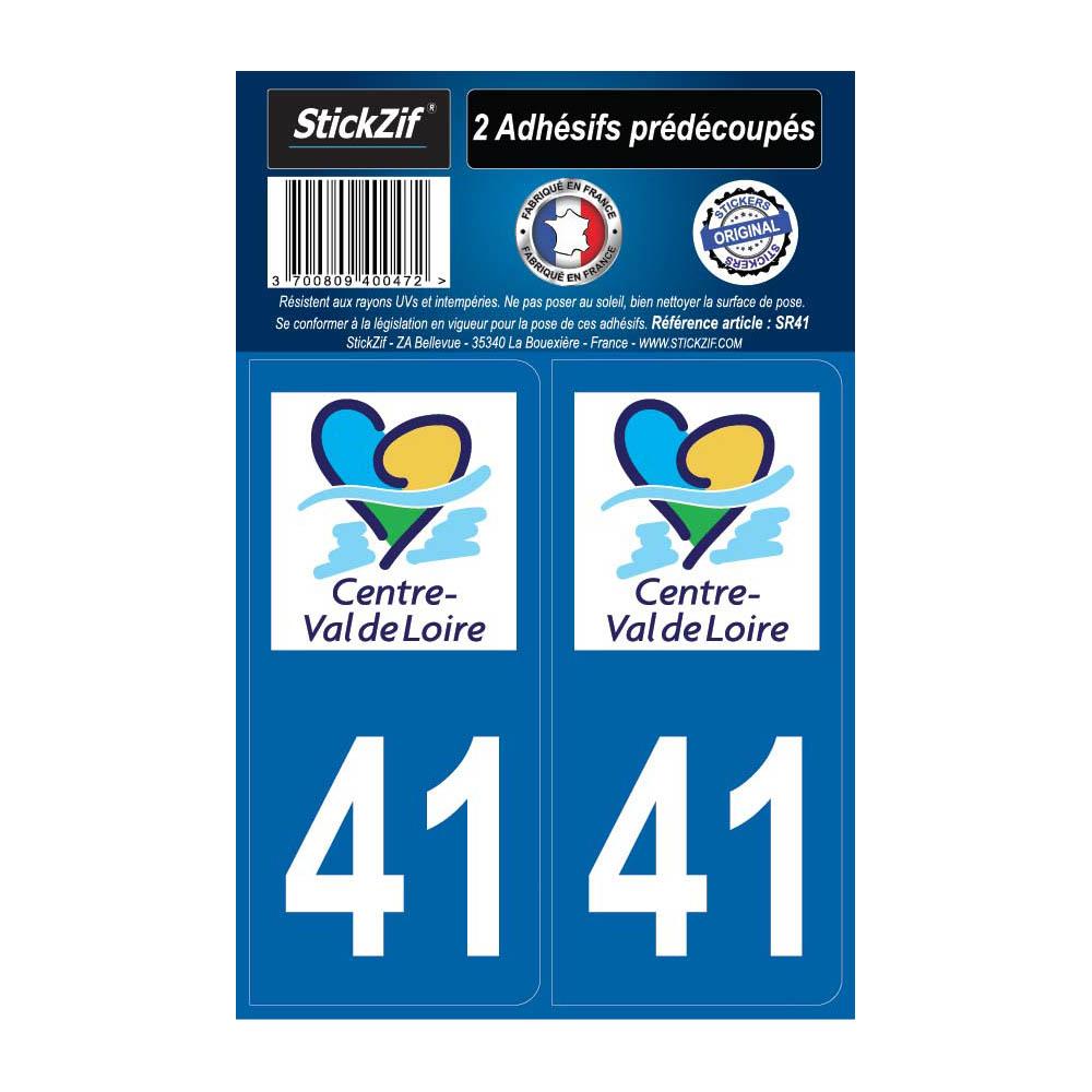 2 autocollants stickers plaque immatriculation Région Centre - Département 41 Loir et Cher Officiel