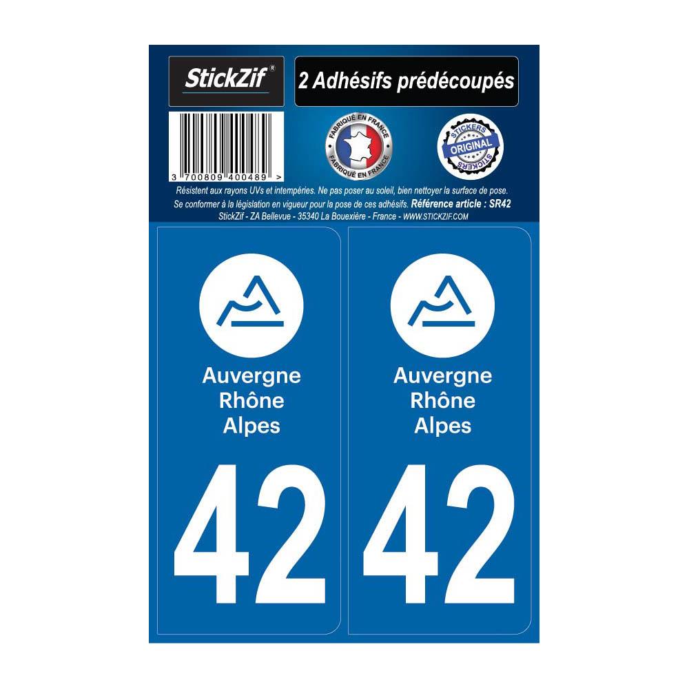 2 autocollants stickers plaque immatriculation Région Auvergne Rhône Alpes - Département 42 Loire Officiel