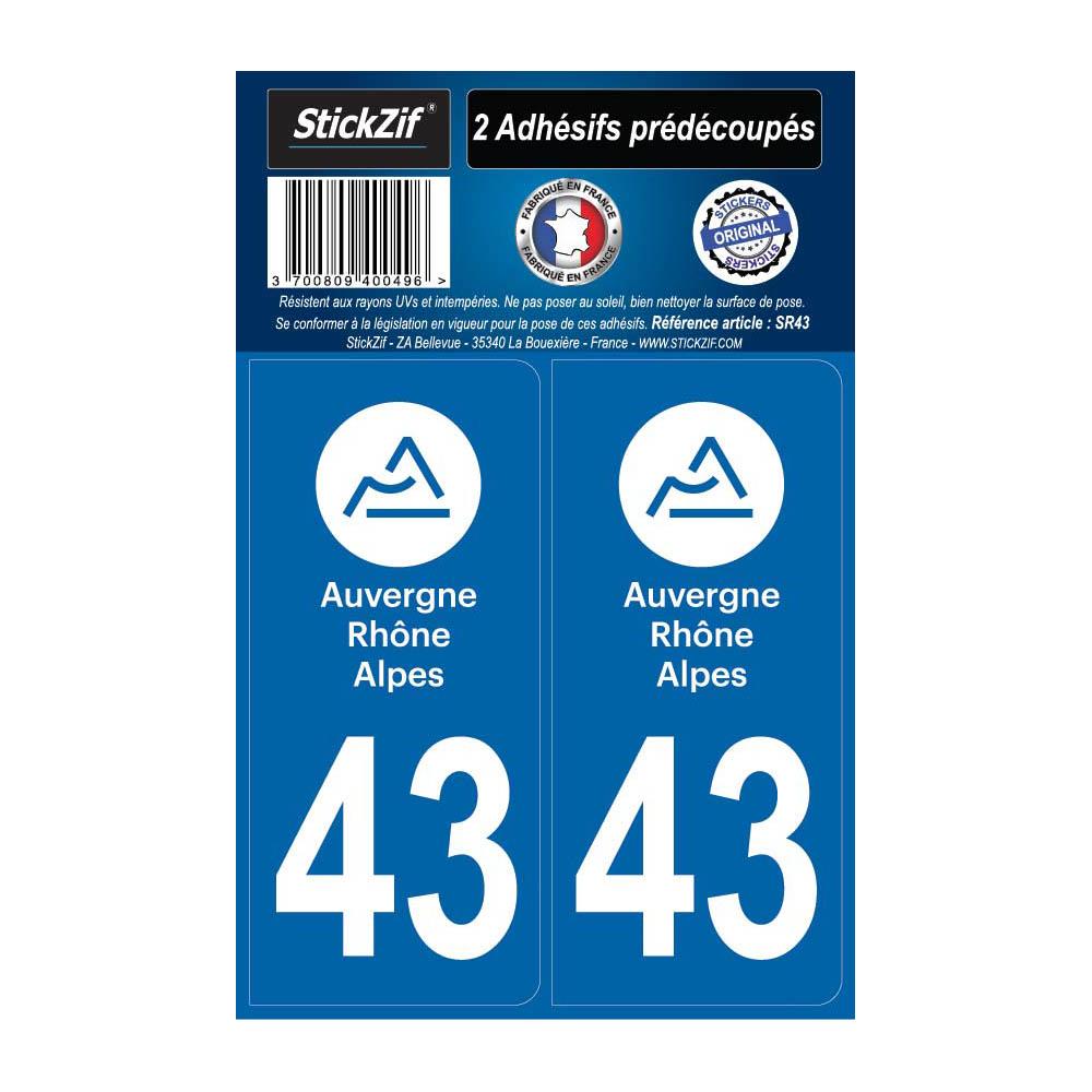 2 autocollants stickers plaque immatriculation Région Auvergne Rhône Alpes - Département 43 Haute Loire Officiel