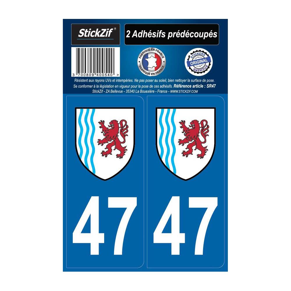 2 autocollants stickers plaque immatriculation Région Nouvelle Aquitaine - Département 47 Lot et Garonne