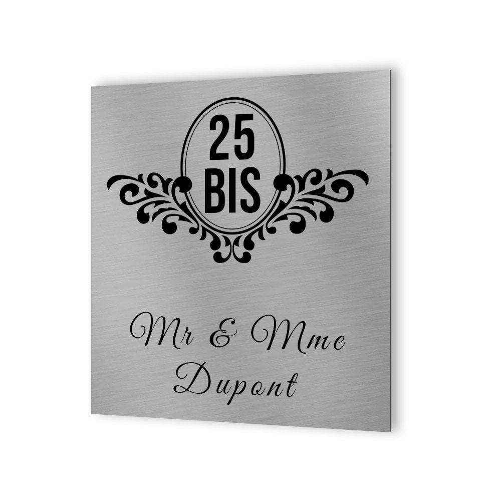 Numéro de maison extérieur personnalisable en Dibond Aluminium - Numéro de rue modèle Baroque