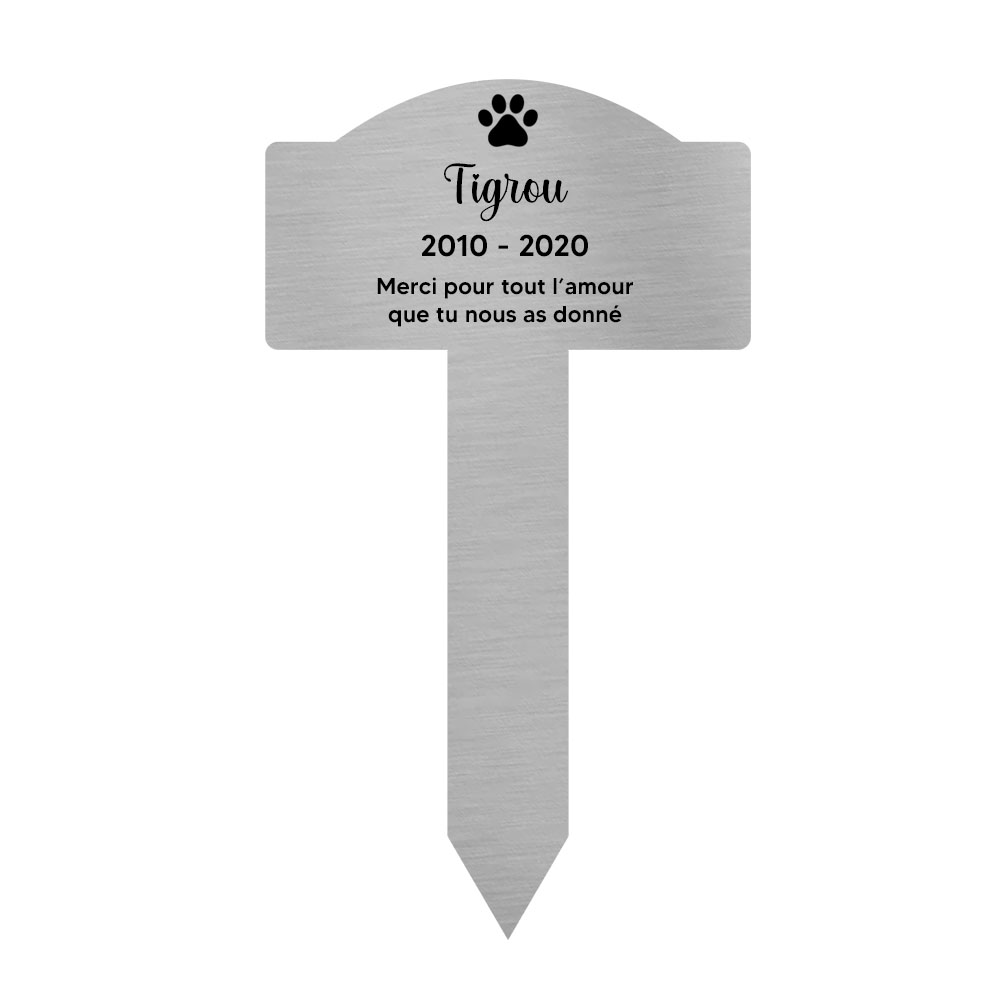Plaque funéraire souvenir pour chat avec gravure message personnalisé - Piquet prévu pour l'extérieur