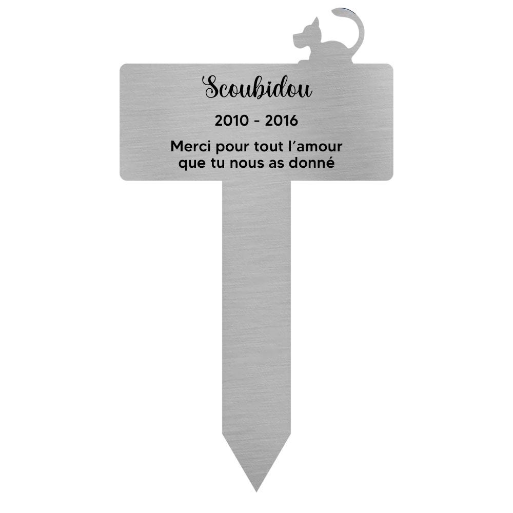 Plaque funéraire personnalisable pour enterrement jardin chien - Modèle silhouette