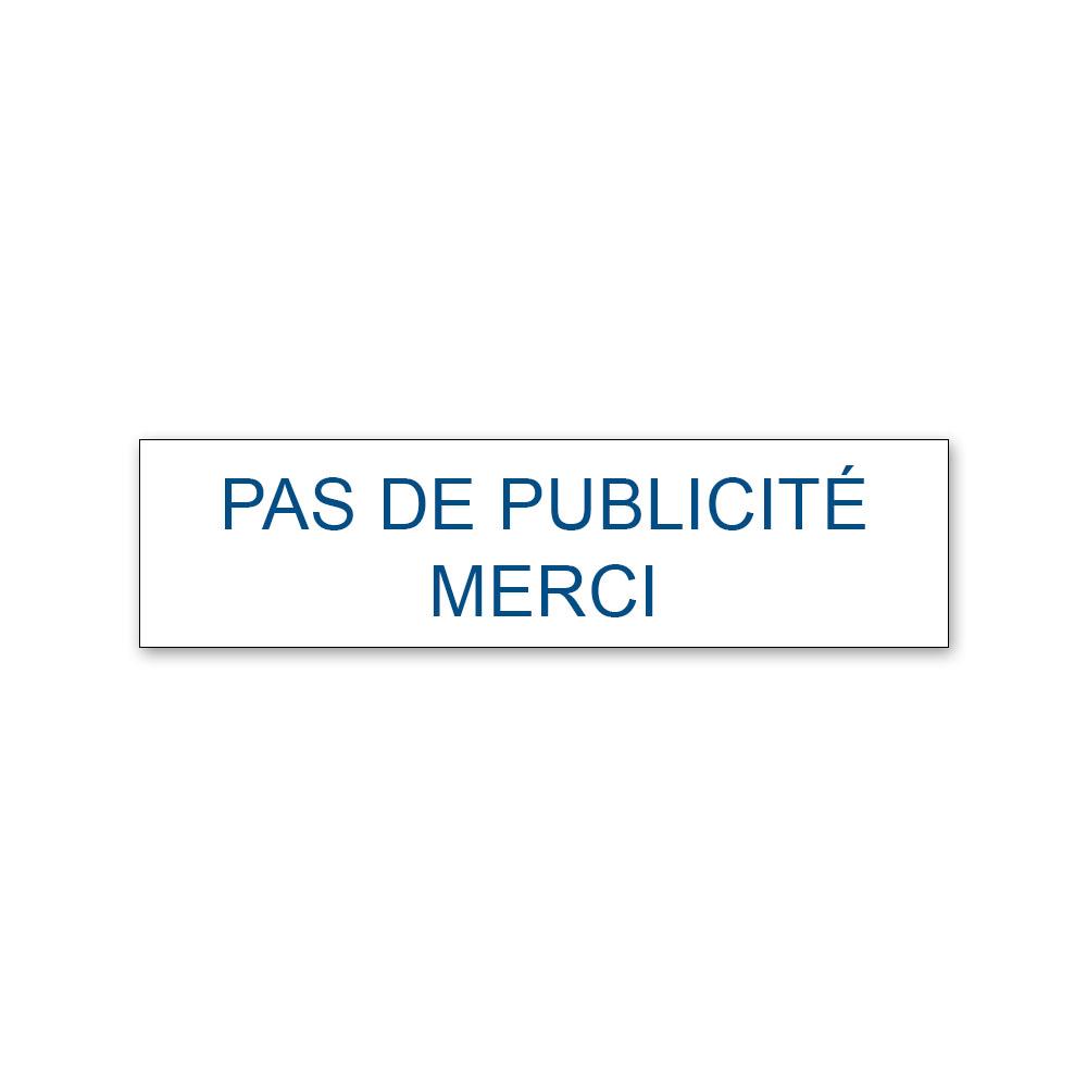 Plaque adhésive PAS DE PUBLICITE MERCI pour boite aux lettres - Format 8 cm x 2 cm