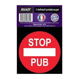 Autocollant stickers adhésif STOP PUB pour boite aux lettres - Format rond diamètre 7 cm