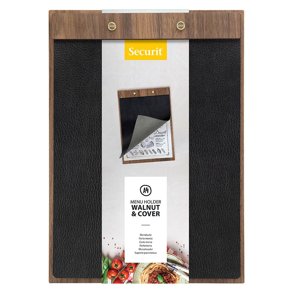 Porte menu format A4 type Clipboard en bois de noyer et simili cuir - Présentation menu restaurant