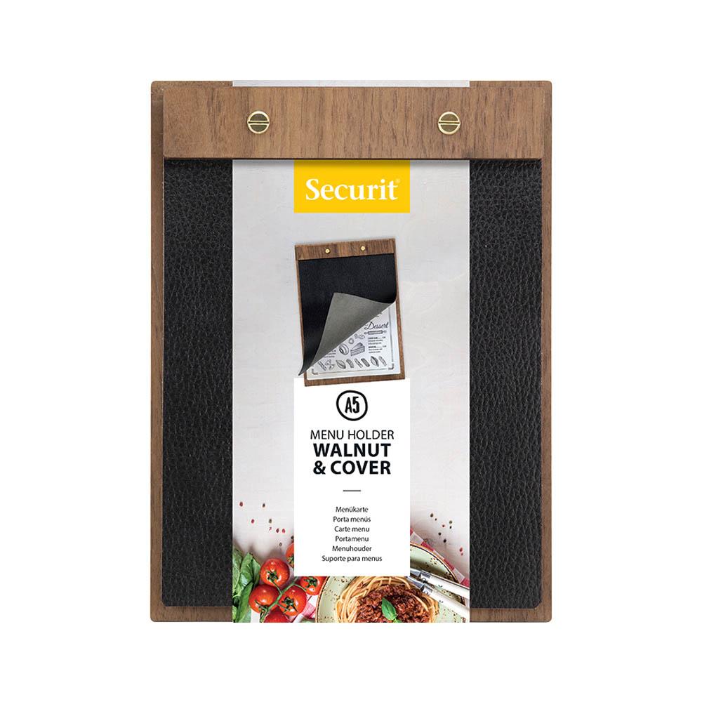 Porte menu format A5 type Clipboard en bois de noyer et simili cuir - Présentation menu restaurant