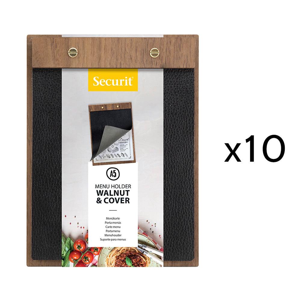 Lot de 10 porte-menu Clipboard format A5 en bois de noyer et simili cuir - Présentation menu restaurant