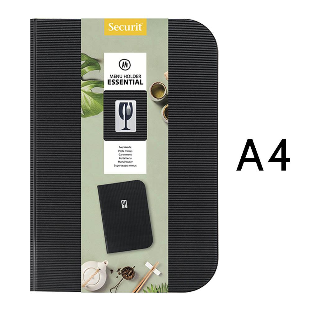 Protège menu en PVC modèle Essential format A4 couleur noir - Présentation menu restaurant