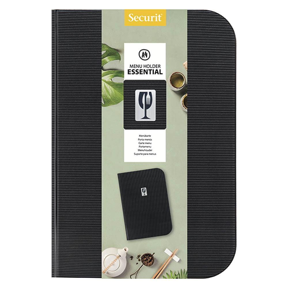 Lot de 10 protège menu en PVC modèle Essential format A4 couleur noir - Présentation menu restaurant