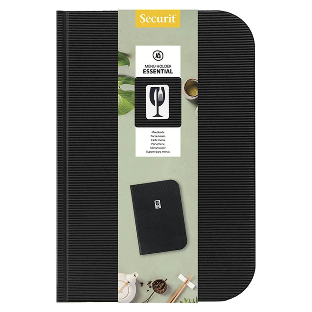 Protège menu en PVC modèle Essential format A5 couleur noir - Présentation menu restaurant