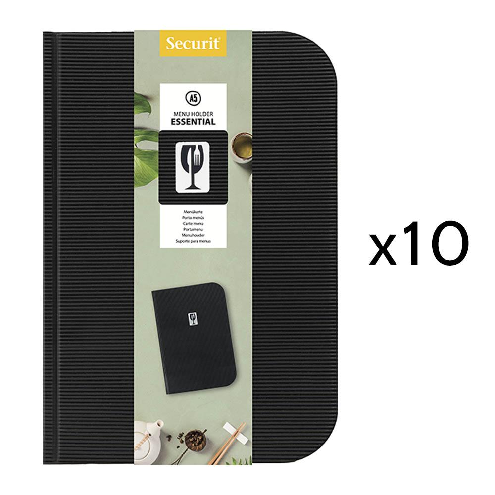 Lot de 10 protège menu en PVC modèle Essential format A5 couleur noir - Présentation menu restaurant
