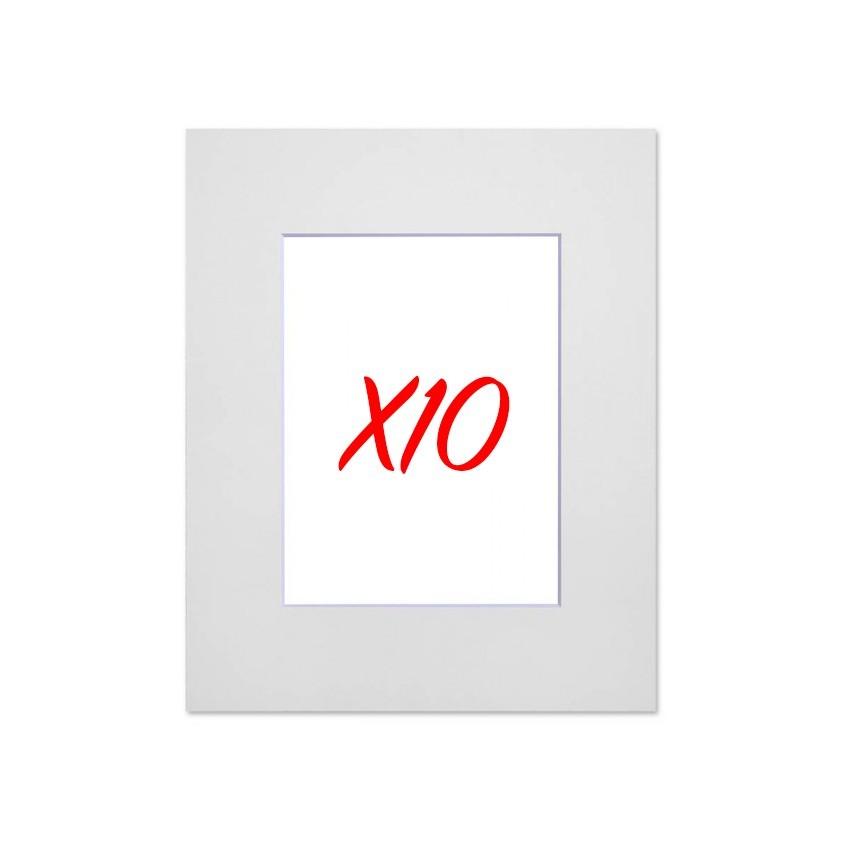 Lot de 10 passe-partouts standard blancs pour cadre et encadrement photo - Nielsen - Cadre 18 x 24 cm - Ouverture 10 x 15 cm