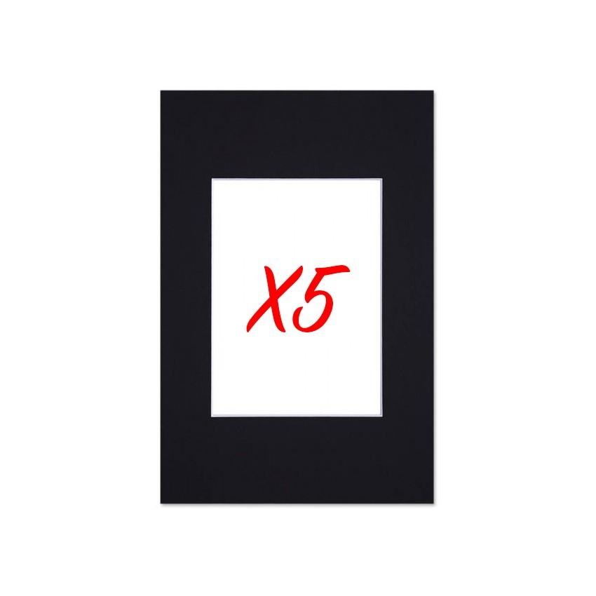 Lot de 5 passe-partouts standard noirs pour cadre et encadrement photo - Nielsen - Cadre 18 x 24 cm - Ouverture 10 x 15 cm
