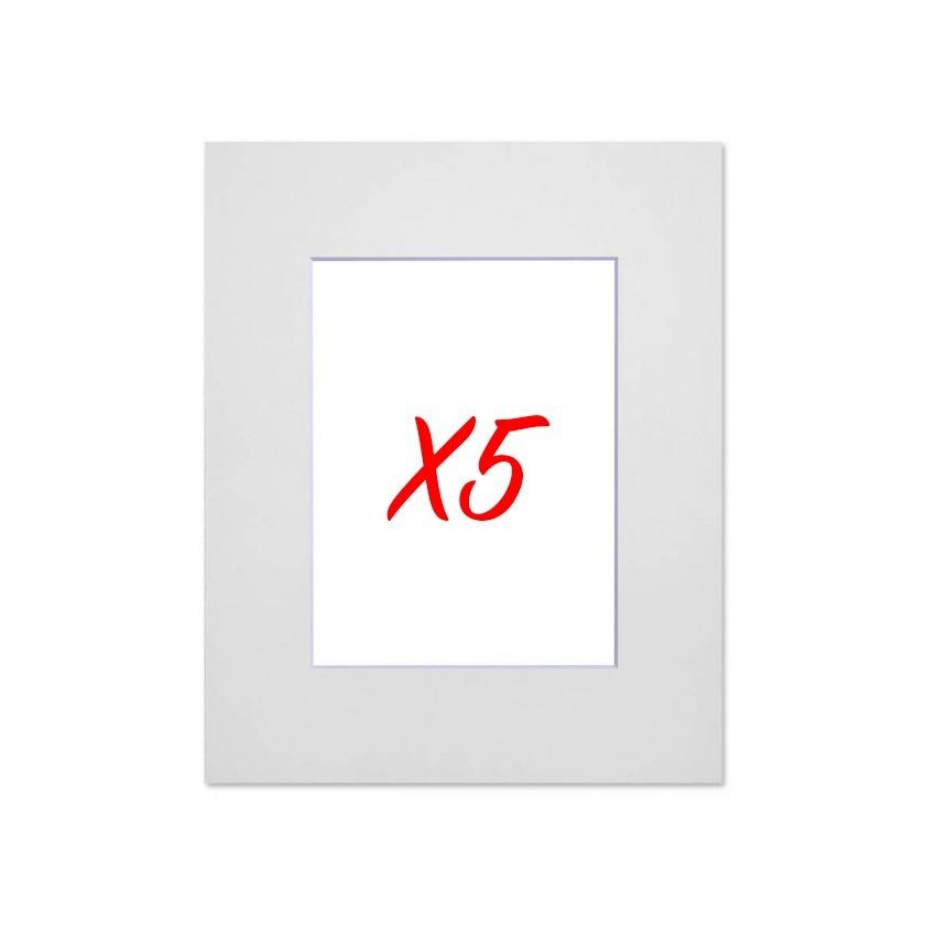 Lot de 5 passe-partouts standard blancs pour cadre et encadrement photo - Nielsen - Cadre 21 x 29,7 cm - Ouverture 13 x 18 cm
