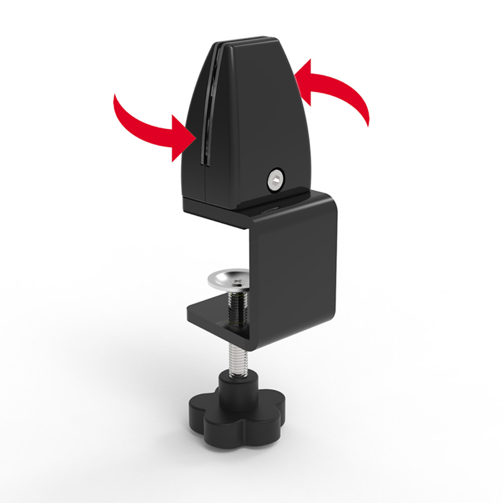 Pinces / étaux pour fixation latérale ou frontale de panneau plexiglass sur table comptoir bureau - Lot de 2
