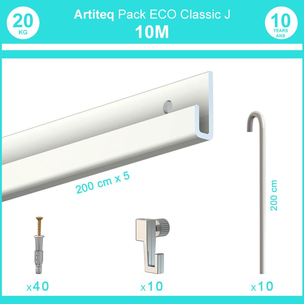 Pack complet 10 mètres cimaise Classic J avec tiges couleur Blanc laqué - Accrochage de cadres et tableaux avec tige