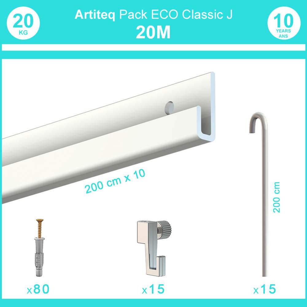 Pack complet 20 mètres cimaise Classic J avec tiges couleur Blanc laqué - Accrochage de cadres et tableaux avec tige