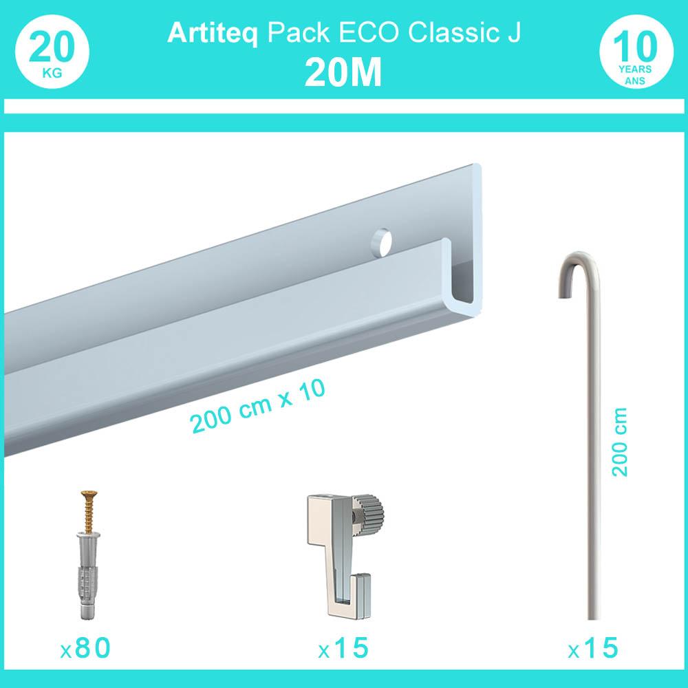 Pack complet 20 mètres cimaise Classic J avec tiges couleur Aluminium - Accrochage de cadres et tableaux avec tige