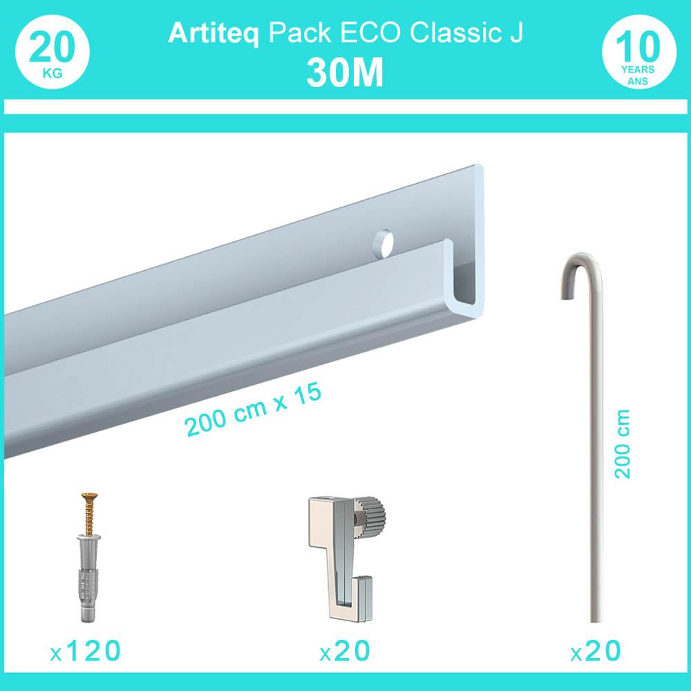 Pack complet 30 mètres cimaise Classic J avec tiges couleur Aluminium - Accrochage de cadres et tableaux avec tige