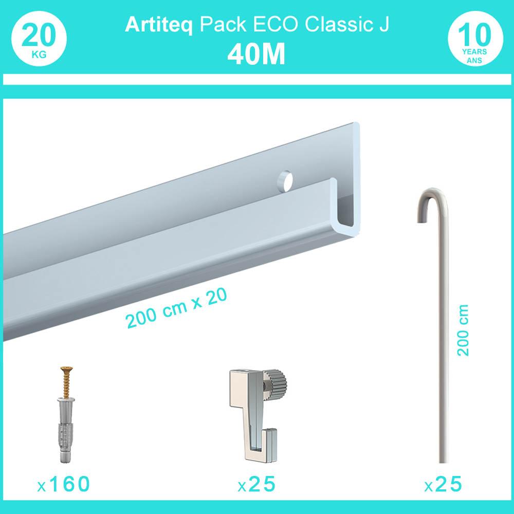 Pack complet 40 mètres cimaise Classic J avec tiges couleur Aluminium - Accrochage de cadres et tableaux avec tige