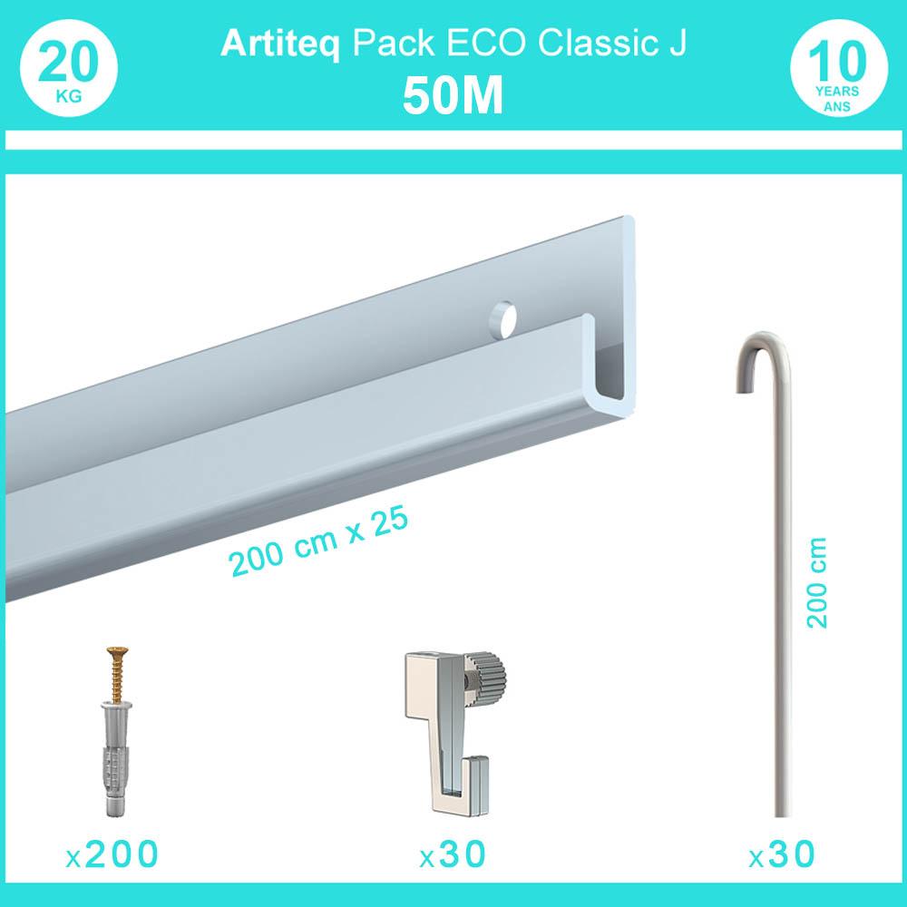Pack complet 50 mètres cimaise Classic J avec tiges couleur Aluminium - Accrochage de cadres et tableaux avec tige