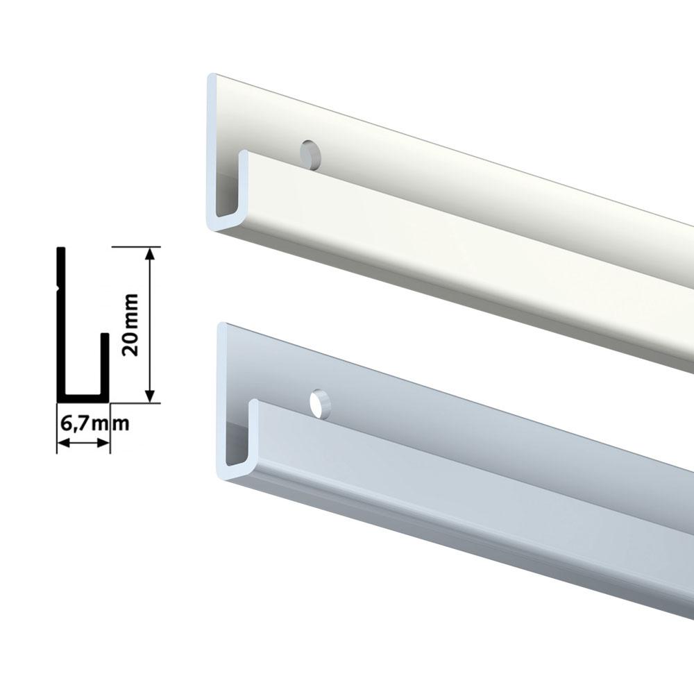 Pack complet 1 mètre cimaise Classic J avec tiges couleur Blanc laqué - Accrochage de cadres et tableaux avec tige