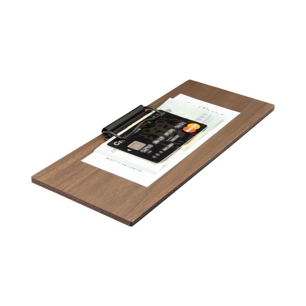 Porte addition avec pince en bois de noyer pour hôtel restaurant brasserie