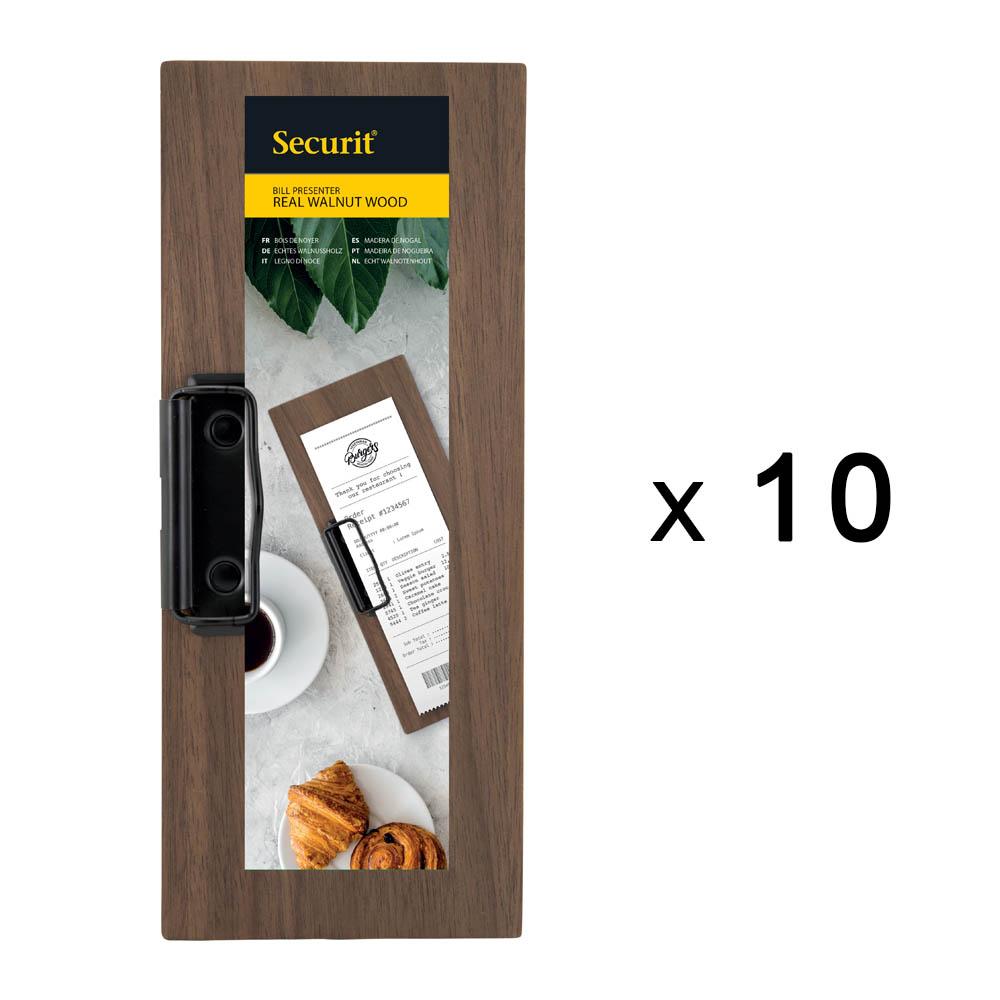 Lot 10 porte addition avec pince en bois de noyer pour hôtel restaurant brasserie