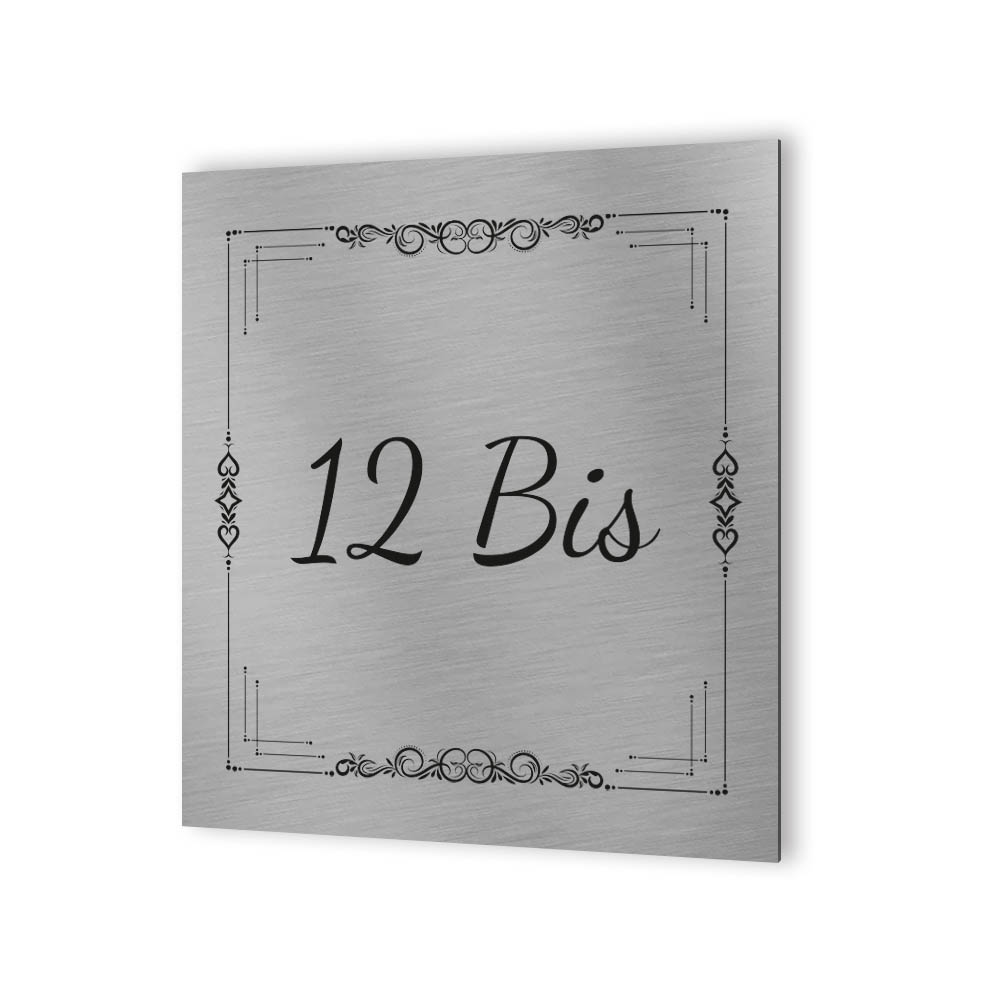 Numéro de maison extérieur personnalisable en Dibond Aluminium - Numéro de rue modèle Floral Design