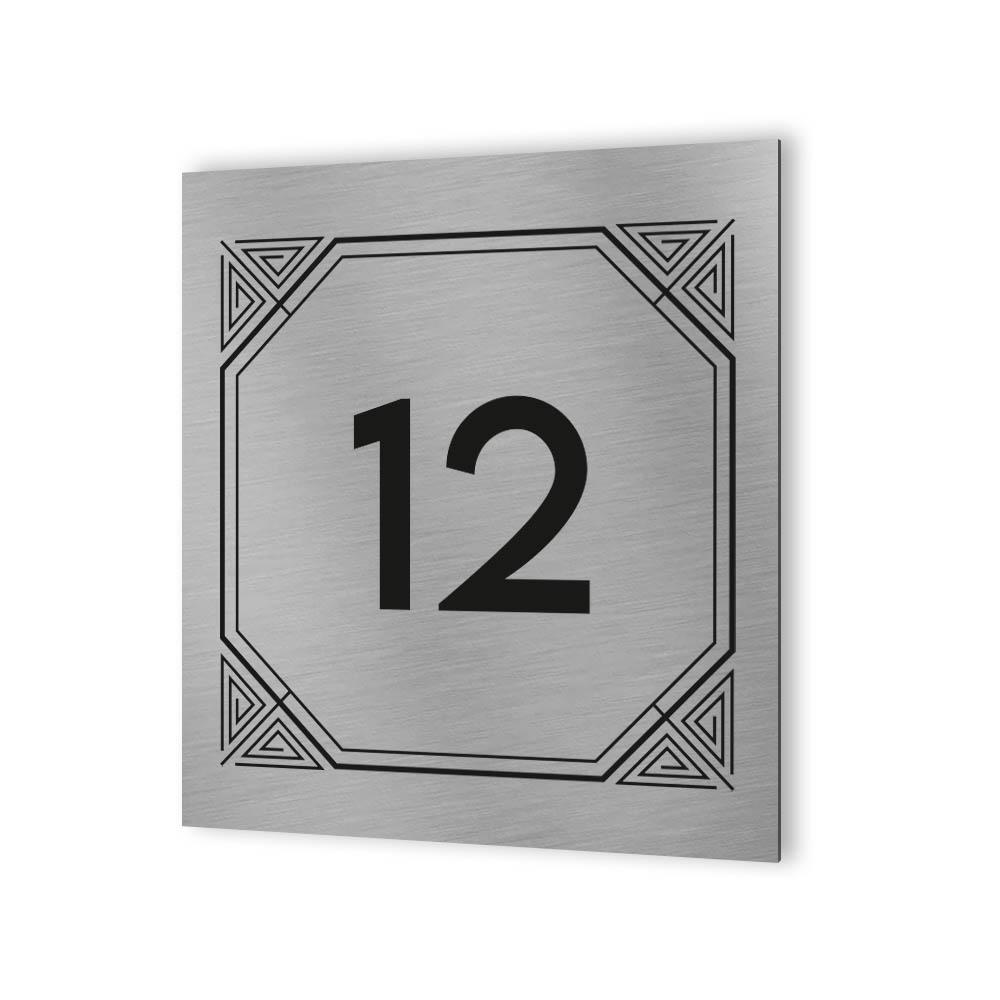 Numéro de rue extérieur à personnaliser - Panneau Dibond Aluminium - Numéro maison modèle Geometrique