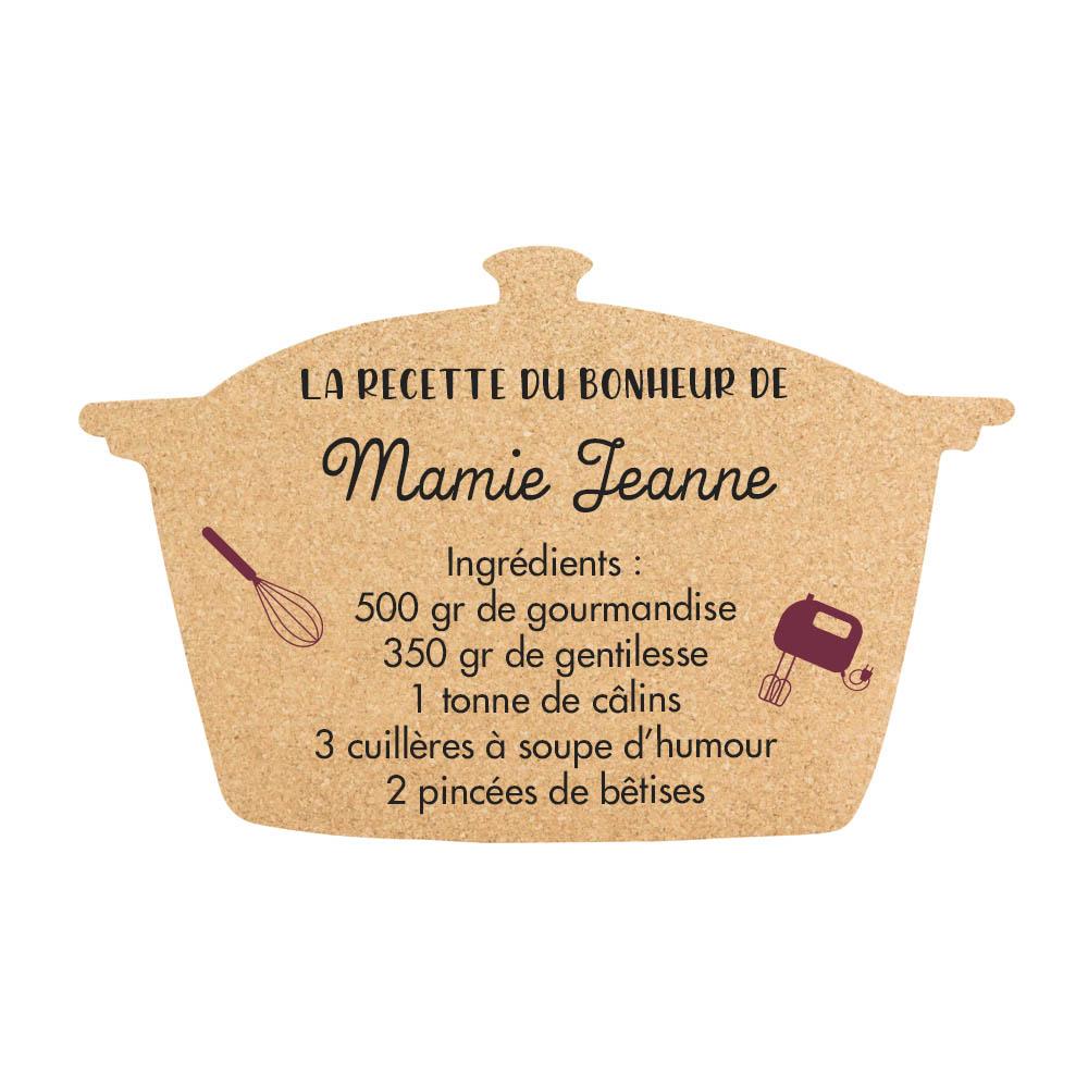 Panneau en liège pense-bête à personnaliser fixation murale pour décoration cuisine salon - Modèle Marmitte