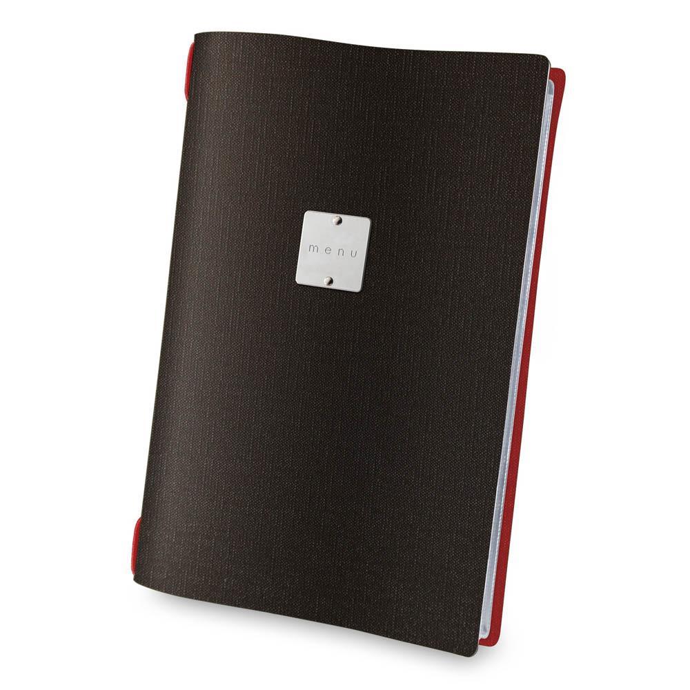 Protège menu A4 bi-couleur marron / rouge aspect toile de jute