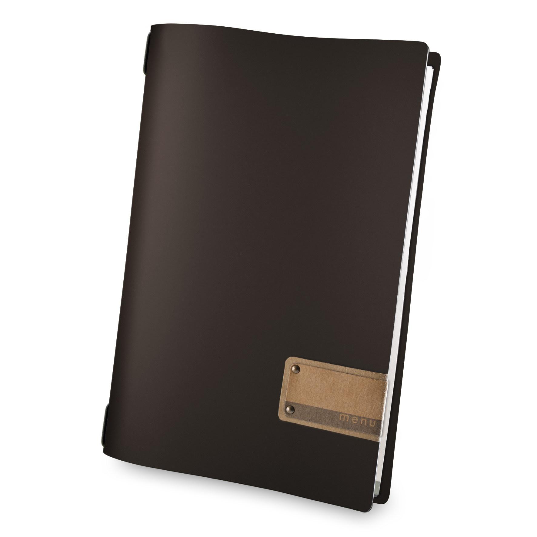 Protège menu A4 Fashion marron aspect lisse