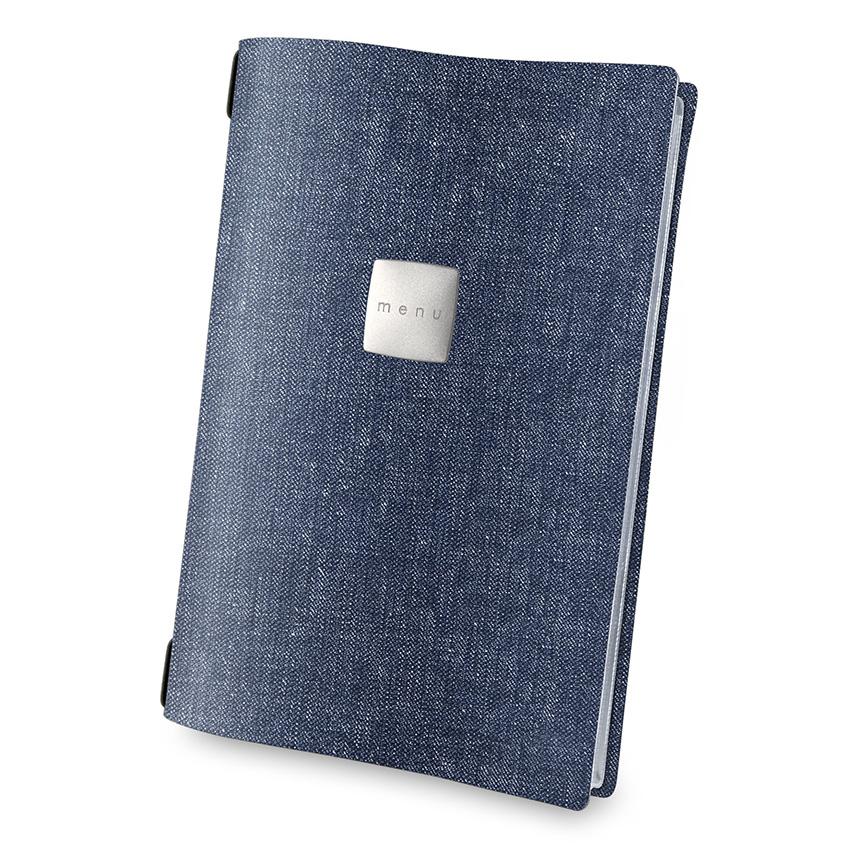 Protège menu A4 bleu aspect jean's