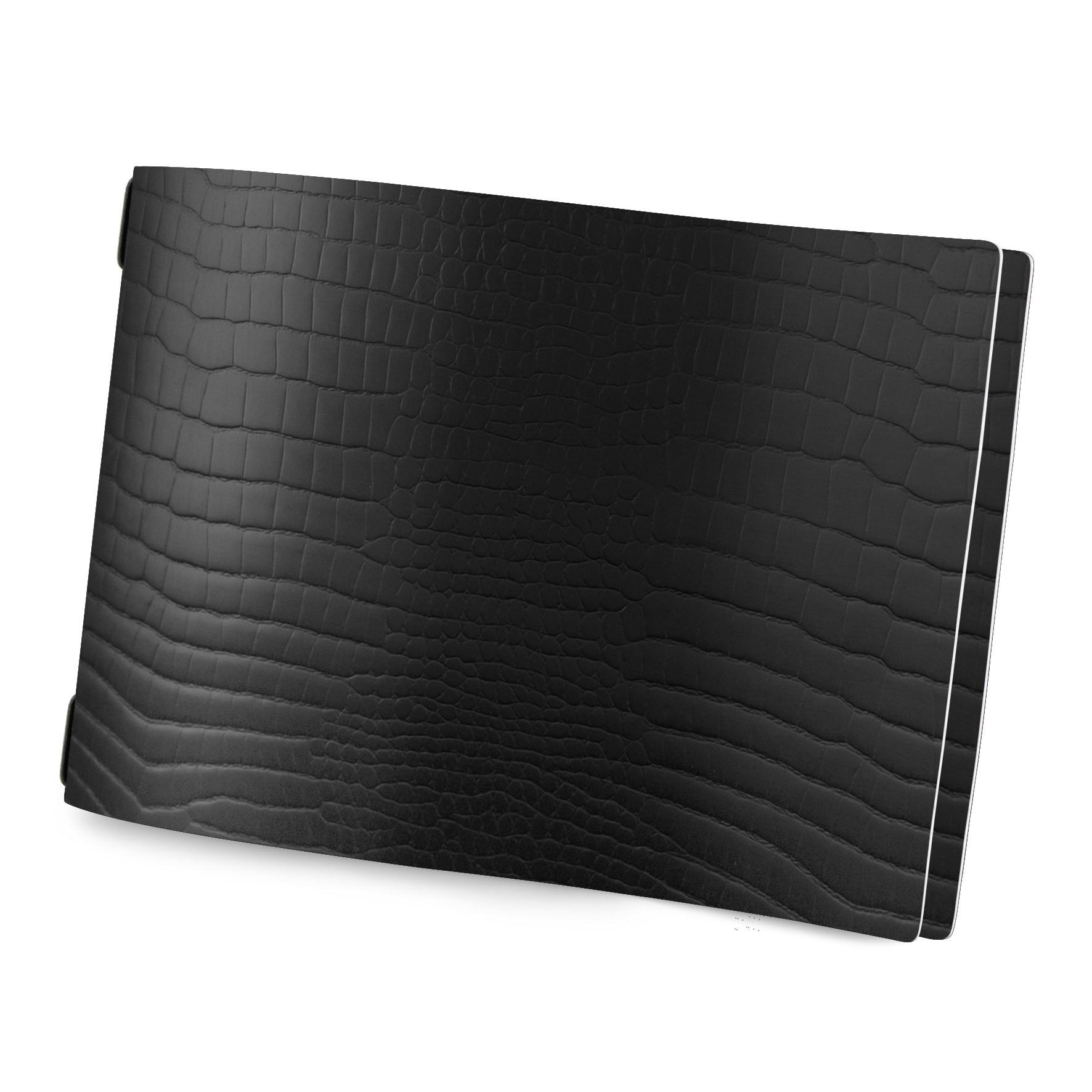 Protège menu format A4 modèle HORIZONTAL couleur noir aspect  peau de crocodile - 2 inserts inclus