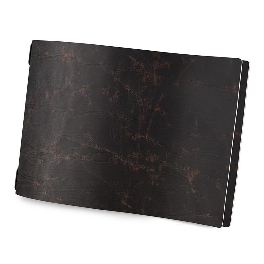 Protège menu écologique format A4 modèle HORIZONTAL couleur marron aspect vintage - 2 inserts inclus